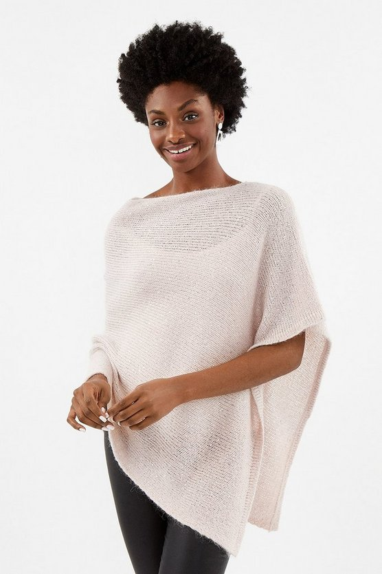 Blush Sequin Knit Poncho