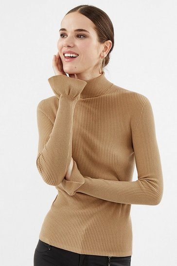 Beige Rib Roll Neck Knit Frill Cuff Top