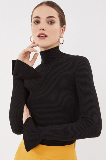 Black Rib Roll Neck Knit Frill Cuff Top