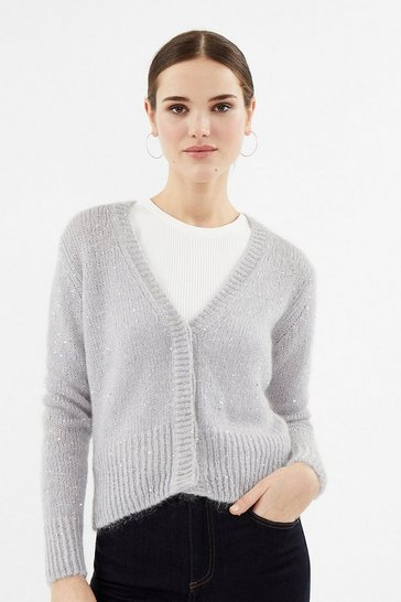 Silver Sequin Knit Cardigan