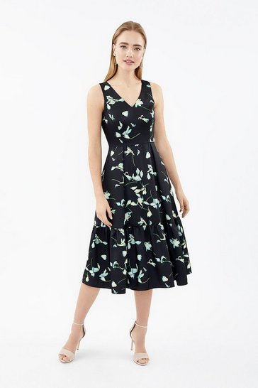 Black V-Neck Twill Dirndl Hem Midi Dress