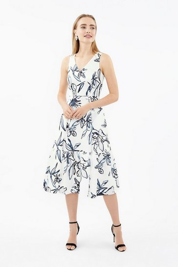 Blackwhite V-Neck Twill Dirndl Hem Midi Dress