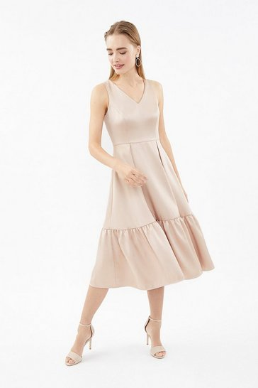 Natural V-Neck Twill Dirndl Hem Midi Dress