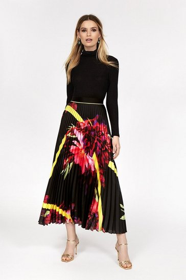 Multi Floral Pleated Midi Skirt