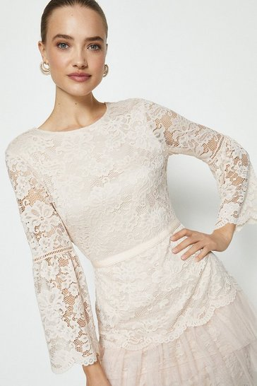 Blush Lace Ruffle Tulle Hem Dress