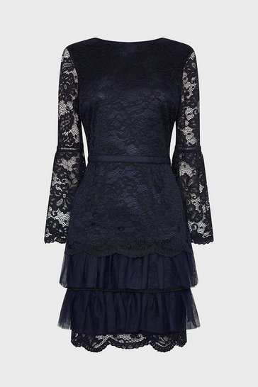 Navy Lace Ruffle Tulle Hem Dress