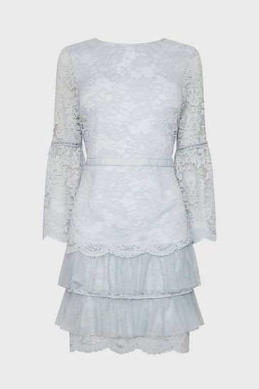 Silver Lace Ruffle Tulle Hem Dress
