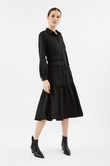 Black Long Sleeve Dirndl Midi Shirt Dress