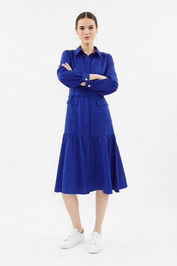 Cobalt Long Sleeve Midi Shirt Dress