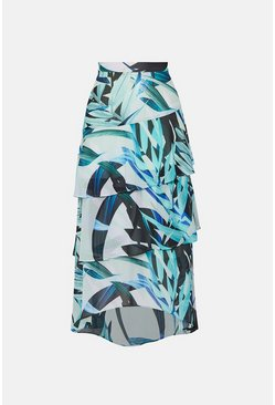 Blue Palm Print Midi Skirt