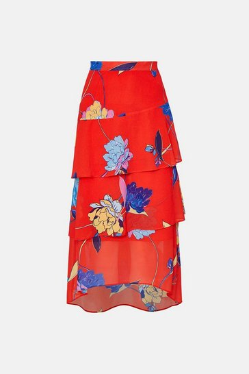 Red Palm Print Midi Skirt