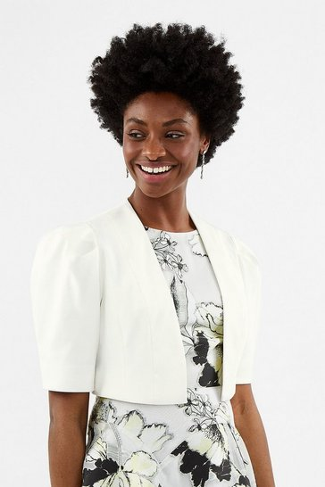 Ivory Puffed Shoulder Cropped Jacket