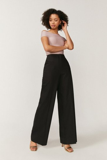 Black Essential Cotton Sateen Wide Leg Trousers