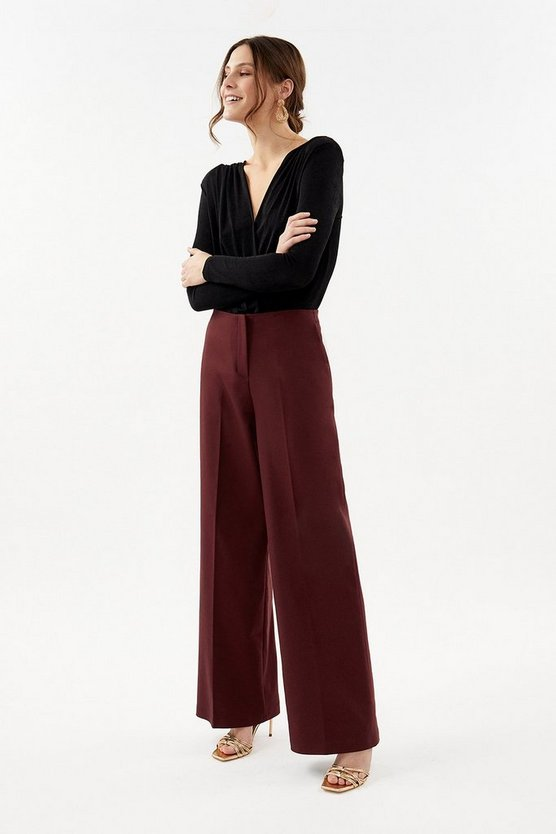 Wine Essential Cotton Sateen Wide Leg Trousers