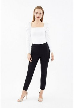 Black Essential Cotton Sateen Cropped Trousers