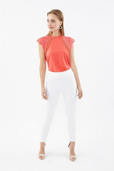 Ivory Essential Cotton Sateen Cropped Trousers