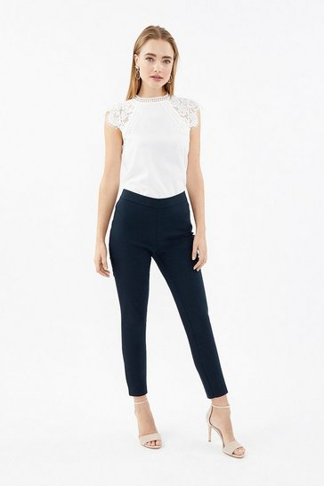 Navy Essential Cotton Sateen Cropped Trousers