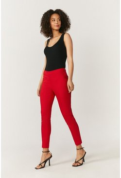 Red Essential Cotton Sateen Cropped Trousers