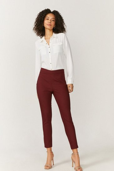 Wine Essential Cotton Sateen Cropped Trousers