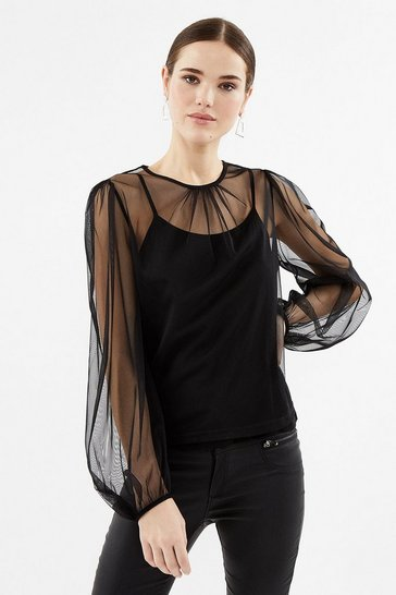 Black Mesh Blouse Sleeve Top