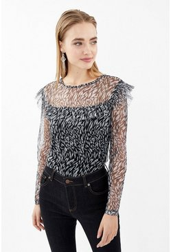Blackwhite Long Sleeve Printed Mesh Frill Detail Top