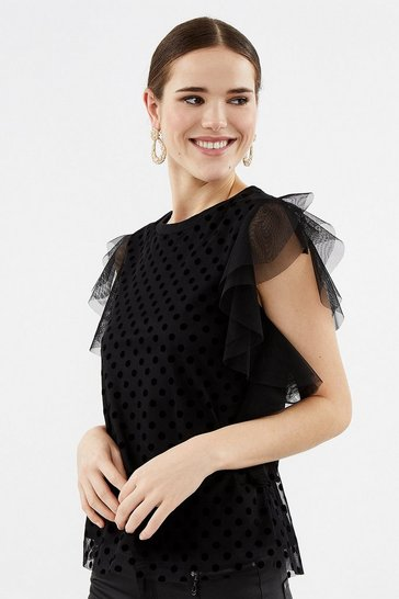 Black Spot Mesh Frill Sleeve Top