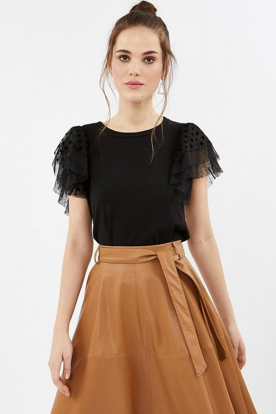 Black Tulle Tiered Sleeve T-Shirt