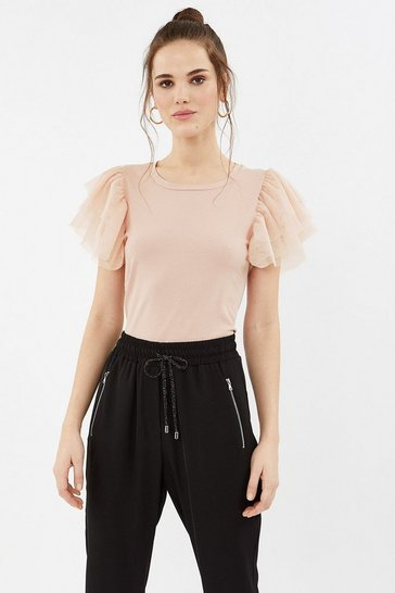 Blush Tulle Tiered Sleeve T-Shirt