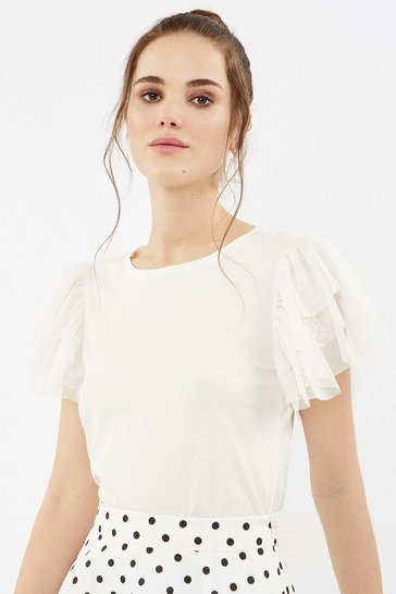 Ivory Tulle Tiered Sleeve T-Shirt