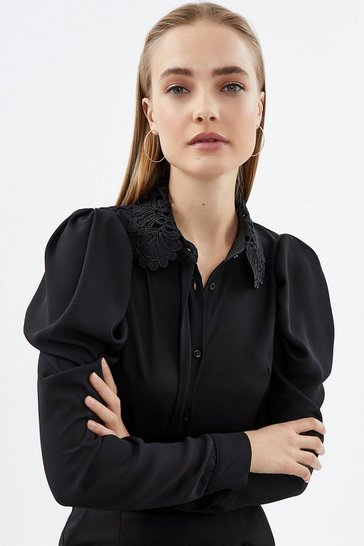Black Lace Collar Blouse