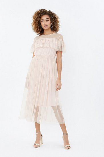 Blush Tulle Frill Midi Dress