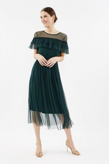 Forest Tulle Frill Midi Dress