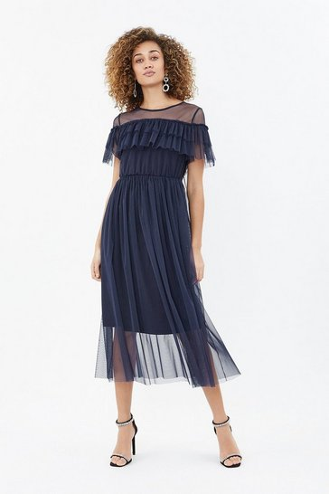 Navy Tulle Frill Midi Dress
