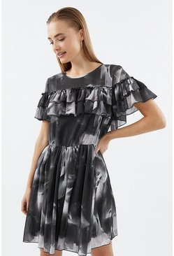 Blackwhite Printed Frill Detail Dress
