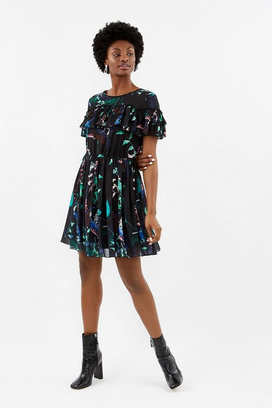 Multi Printed Frill Detail Dress