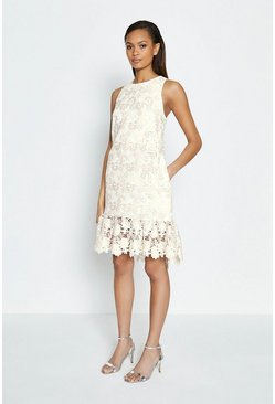 Multi Sleeveless Lace Peplum Hem Dress