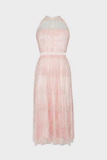 Blush Pleated High Neck Mesh Dress