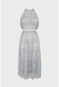 Silver Pleated High Neck Mesh Dress