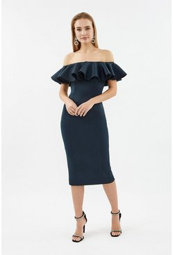 Navy Frill Scuba Bardot Dress
