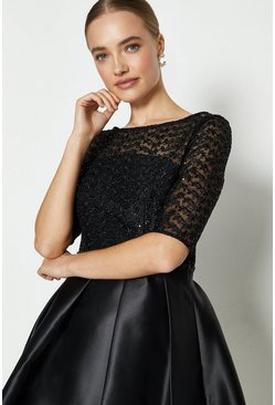 Black Lace Bodice Full Skirt Dress