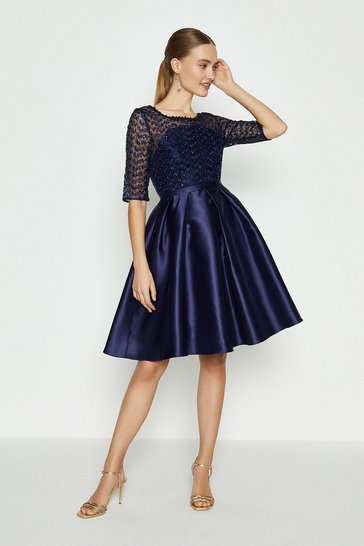 Navy Lace Bodice Full Skirt Dress