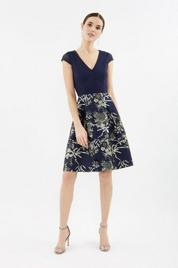 Navy Lace Jacquard Full Skirted Dress
