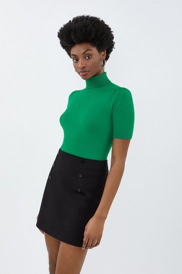 Green Short Sleeved Roll Neck Cropped Knit Top