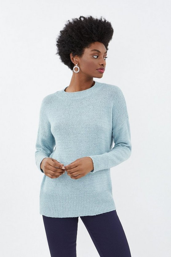 Blue Longline Sequin Jumper