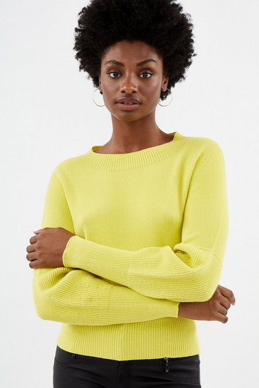 Yellow Blouson Sleeve Knit Jumper