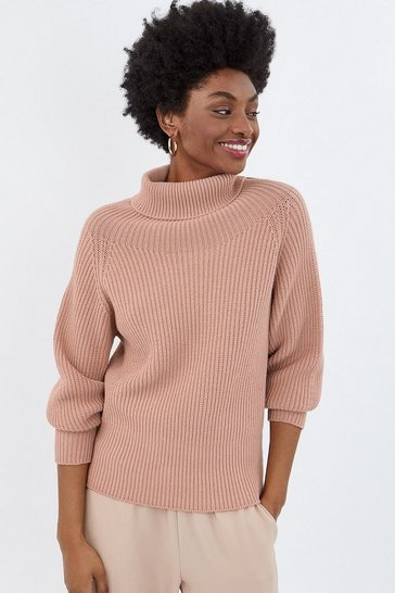 Blush Roll Neck Chunky Knit Jumper