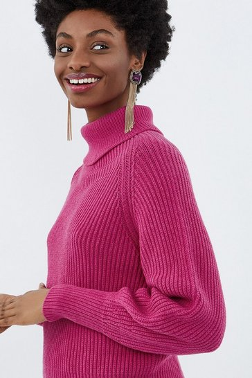 Pink Roll Neck Chunky Knit Jumper