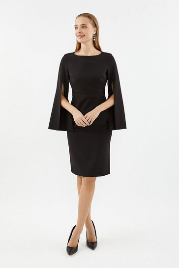 Black Spilt Sleeve Shift Dress