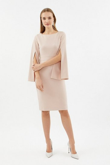 Nude Spilt Sleeve Shift Dress