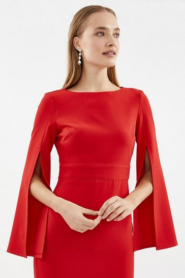 Red Spilt Sleeve Shift Dress